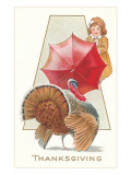 Girl Fending Off Turkey with Umbrella Posters