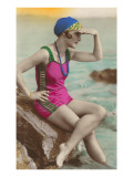 Old Fashioned Woman in Bathing Suit Posters