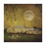 Sheep Under a Harvest Moon Giclee Print by Dawne Polis