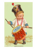 Little Victorian Boy with Drum Made of Spool Prints