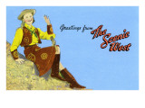 Greetings from the Scenic West, Cowgirl Print