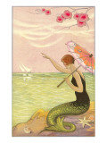 Mermaid Waving at Sailboats Posters