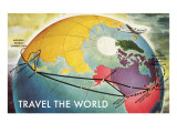 Travel the World, Routes to Asia Ensiluokkainen giclee-vedos