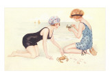 Women in Bathing Costumes Playing with Crabs Prints