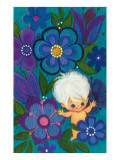 Baby Gnome Amid Blue Flowers Prints