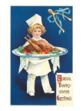 Greetings, Boy Chef with Cooked Turkey Posters