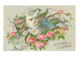 A Christmas Greeting, Victorian Cat Prints