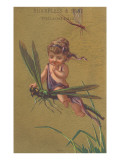 Baby Fairy Riding Dragonfly Posters