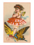 Victorian Girl on Butterfly Posters