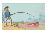 Old Salt Fishing for Girl Prints
