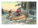 Outdoorsmen Facing Bear Reproduction giclée Premium