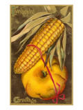 Thanksgiving Greetings, Corn and Pumpkin, Art Print