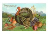 Thanksgiving Greetings, Turkey with Fruits Print
