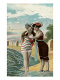Old Fashioned Ladies at Beach with Tombstones Prints