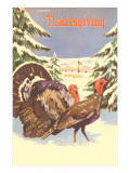 Turkeys in the Snow Prints