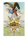 Eagle, Alamo in Star, Texas Liberty Posters