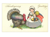 Little Pilgrim Girl with Turkey Posters