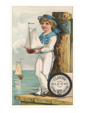 Victorian Sailor Boy with Toy Boat Poster