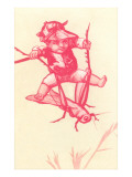 Victorian Red-Toned Boy Riding Cricket Prints