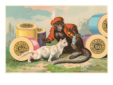 Monkey and Cat with Spools of Thread Prints
