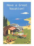 Family Camping by Ocean, Have a Great Vacation Posters