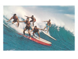 Five Surfers Catching Wave Poster