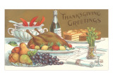 Thanksgiving Greetings, Feast on Table Prints