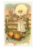 Thin Farm Lady with Wheat and Pumpkins Art