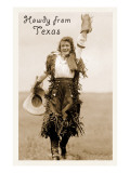 Howdy from Texas, Waving Cowgirl Art