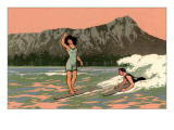 Couple Surfing at Diamond Head Prints