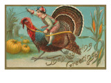 Greetings, Jockey Boy Riding Turkey Posters