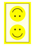 Yellow Opposed Happy Faces Poster