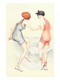 Women in Bathing Costumes Playing Tag Plakaty