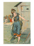 Lady Emerging from Bathing Machine, Illustration Art