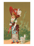 Dressed-Up Victorian Girl with Toy Dog Prints