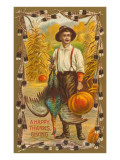 Greetings, Man with Turkey and Pumpkin Posters