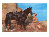Cowgirl with Black Horse Prints