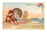 Victorian Children on Beach Poster