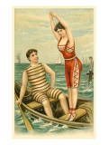 Woman in Bathing Costume Diving from Boat Prints