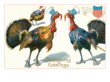 Thanksgiving Greetings, Turkeys in Hats Prints