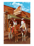 Couple on Horseback with Long Horn Steer Horns Posters