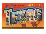 Greetings from San Angelo Texas Posters