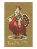 Little Uncle Sam Riding Turkey Posters