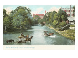 River from Mill Bridge, San Antonio, Texas Prints