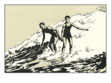 Woodcut of Two Surfers Affiches