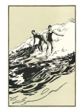 Woodcut of Two Surfers Posters