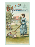 Glum Victorian Lady with Lawnmower Prints