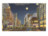 Moon over Gay Street, Knoxville, Tennessee Prints