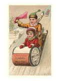Children on Spool Sled Poster