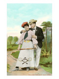 Fond Couple with Tennis Racket Prints